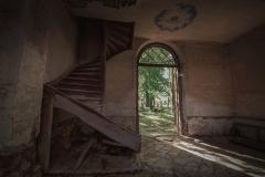 Schody na chór - cerkiew w Starych Oleszycach.